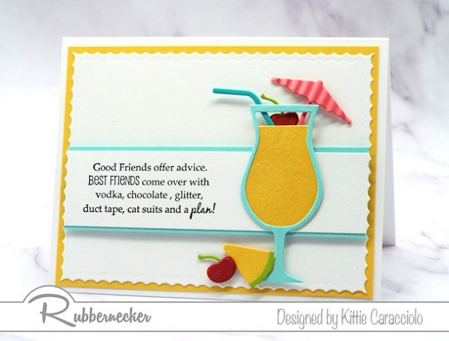 This mai tai card with the fun sentiment is a perfect example of a large colorful image being the main focal point of a clean and simple card.