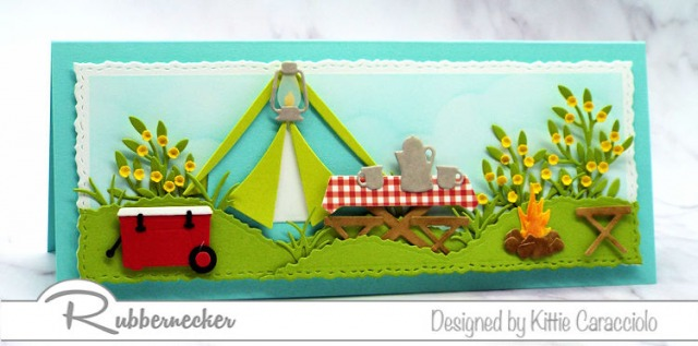 This slimline camping card was made using cardmaking dies to bring paper to life