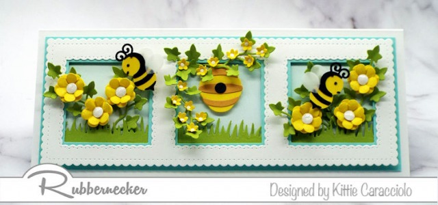 I had so much fun creating this slimline honey bee card and filling each frame with a mini bee themed scene.