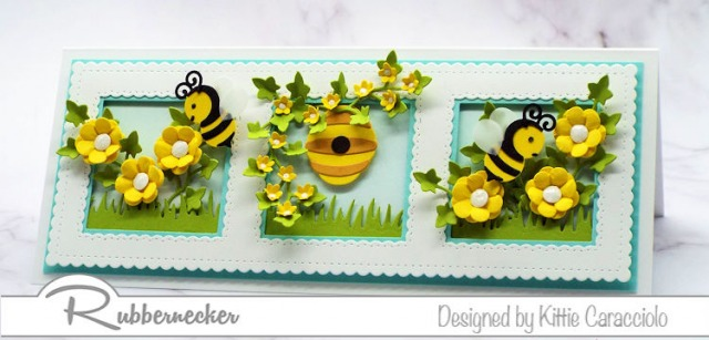 I had so much fun creating this slimline honey bee card and filling each frame with flowers, bees and bee hive.