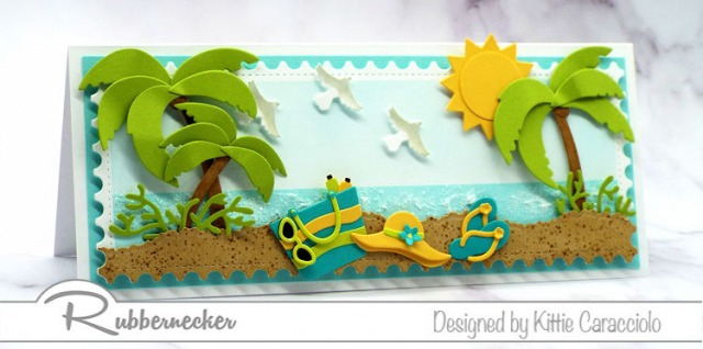 This handmade summer card used cardmkaing dies to create all the paper pieced details