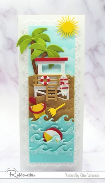 It was so much fun creating this vertical slimline beach card with all the different layers and images.
