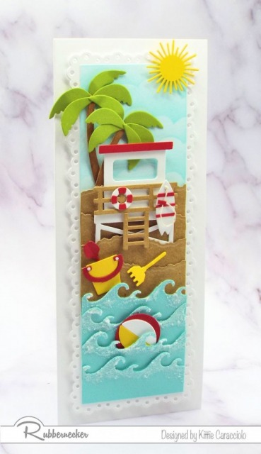 Creating this vertical slimline beach card with all the different layers and images was so much fun.