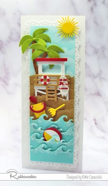 Slimline cards are very popular in paper crafting right now and I had lots of fun creating all the layers for this vertical slimline beach card.