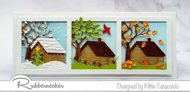 This slimline card idea was easy to execute with this three window slimline die from Rubbernecker - come see how to make one for yourself!