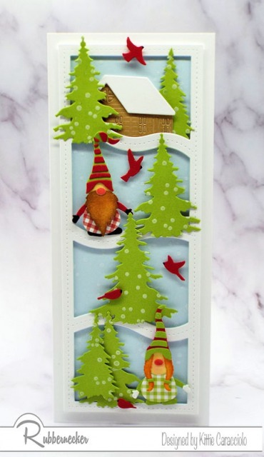 This winter gnome card cracks me up - the gnomes AND that wavy frame are all made with dies from Rubbernecker!