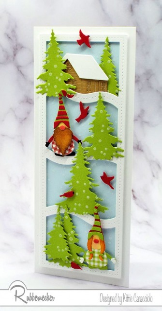 I am loving this winter gnome card made with one of the new slimline dies from Rubbernecker - come see how you can make one, too!