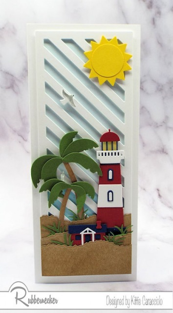 You can almost hear the surf with this slimline lighthouse card - I am LOVING all the extra design space!