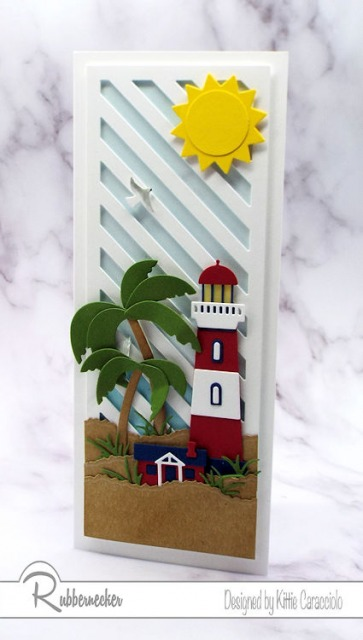 I am getting a little tropical with this slimline lighthouse card! Check out the new slimline die from Rubbernecker used for that background!