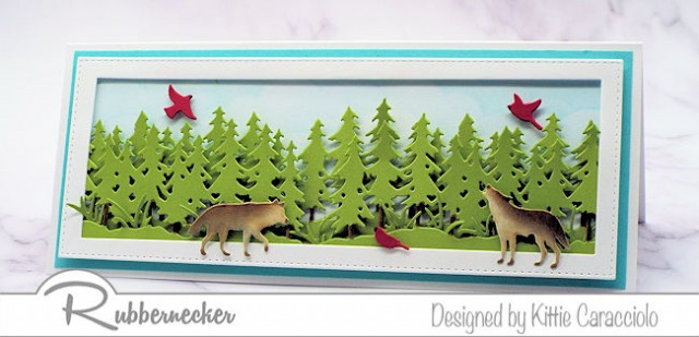 This wolf greeting card features PLENTY of space to let these beautiful guys roam on this slimline card.