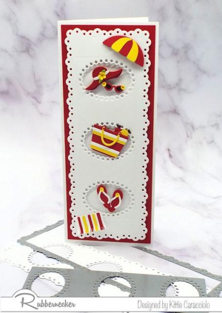 A slimline insert die, a slimline frame die and a handmade greeting card using those dies