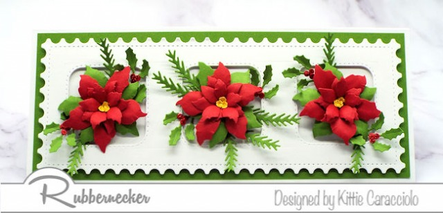 Today I am sharing a Slimline Poinsettia Card with paper flowers that look ready to be picked - come get the details!