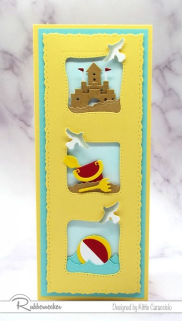 This slimline beach card was made using all new cardmaking dies from Rubbernecker to create those three individual mini-scenes on one card