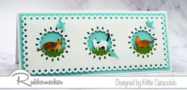 Cat greeting cards featuring three cats in decorative windows all made using cardmaking dies