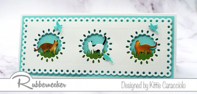 Cat greeting cards made with cardmaking dies featuring three cats in decorative die cut windows