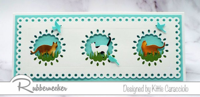 Cat greeting cards made from cardmaking dies with eyelet style detailed windows
