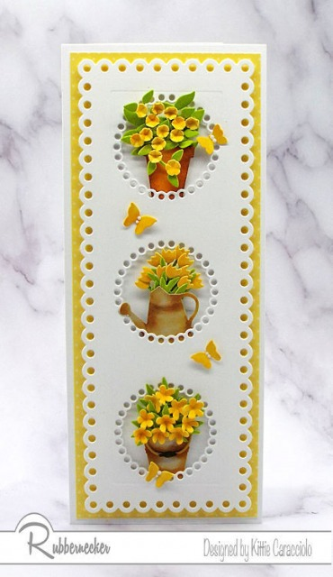 Get a new take on flower card design using a slimline die from Rubbernecker to give you more space for your creativity!