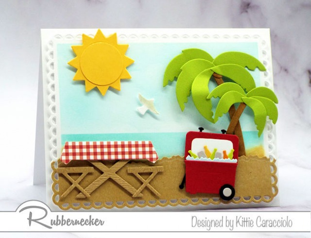 This beach picnic card is actually pretty easy to make with the great dies from Rubbernecker - click through to get the details!