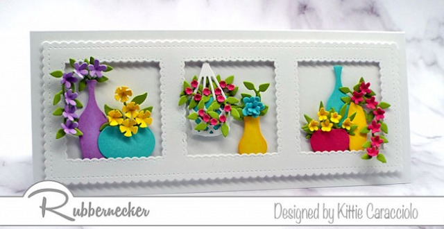 This slimline card with colorful flowers is just the thing to send to cheer up someone's day – come see more.