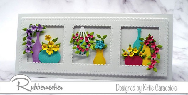 Click through to learn more about how to make this slimline card with colorful flowers.