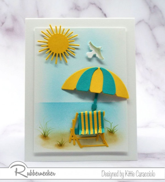 pretty backgrounds for cards shown off with a tropical scene made from die cuts on a handmade greeting card