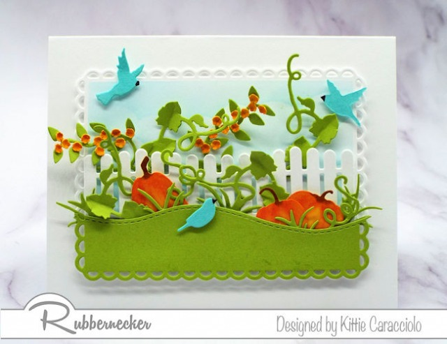 happy fall greeting cards made using card stock die cuts layered to create a fall scene with pumpkins, vines and blossoms