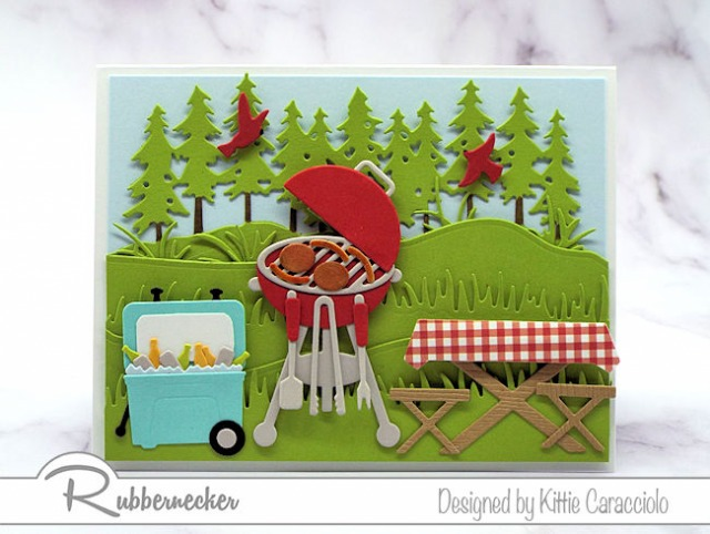 This BBQ card showing an outdoor scene was made entirely from cardmaking dies