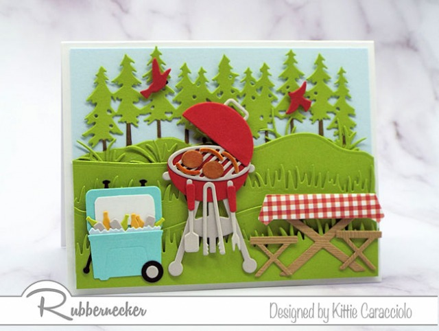 This handmade BBQ card used cardmaking dies to create all the paper pieced details