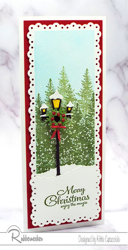 A sample of DIY Winter Scene Christmas Cards slimline style with a snowy background and a vintage black iron lamp post