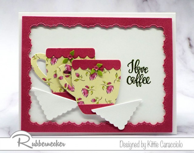 A pink and yellow handmade I love coffee greeting card made using die cuts from Rubbernecker