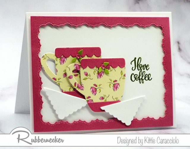 An easy to make I love coffee card made using paper die cuts and a rubber stamp from Rubbernecker