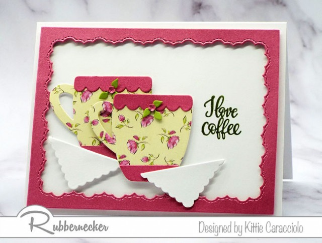 A cheerful I love coffee card handmade using paper die ctus and patterned paper