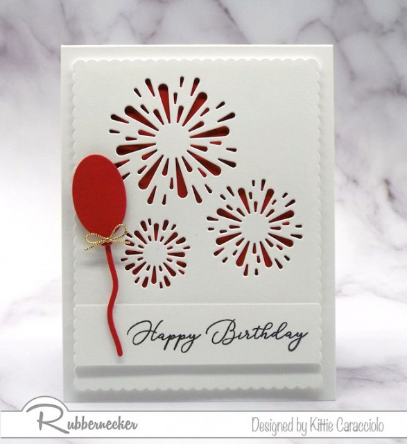 Negative Die Cuts on a handmade greeting card making fireworks