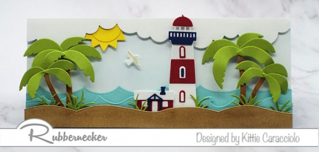 Examples of how to alter a die cut are shown on this handmade greeting card depicting a scene at the seashore