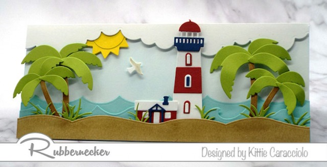 how to alter a die cut is shown in three different examples on this beach scene greeting card handmade from die cuts