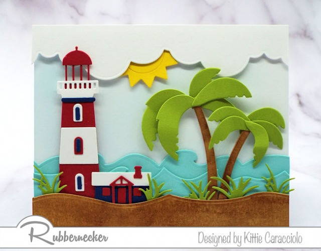 And image using altering die cuts in size to make a die cut lighthouse and palm tree fit a differently sized card