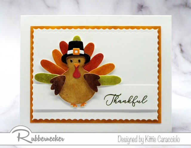 handmade Thanksgiving cards using cardstock, die cuts and water based ink to form an adorable turkey