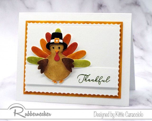 An example of clean and simple thanksgiving cards handmade using die cuts and ink