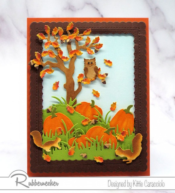 I'm sharing a Rubbernecker sneak peek of this fall card with lots of fun images and bright colors.