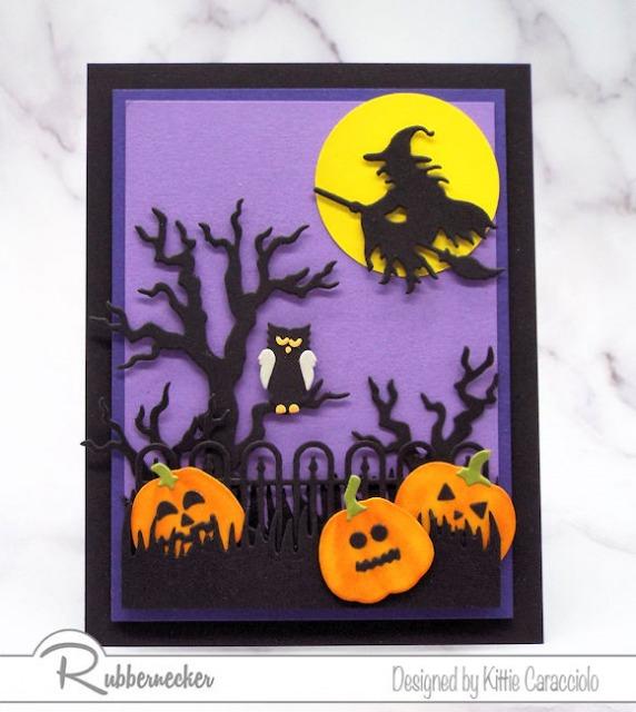 I'm sharing a Rubbernecker sneak peek of this spooky Halloween card.