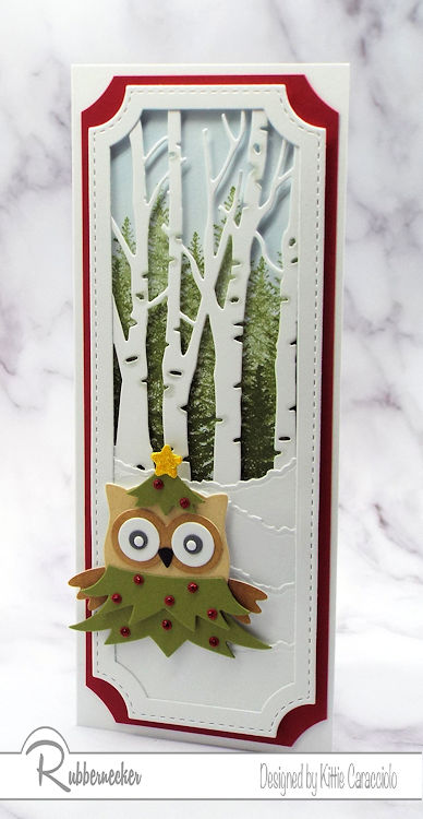 One of my Owl Christmas Cards created using new nesting slimline dies and a die cut owl all dressed up for the holidays