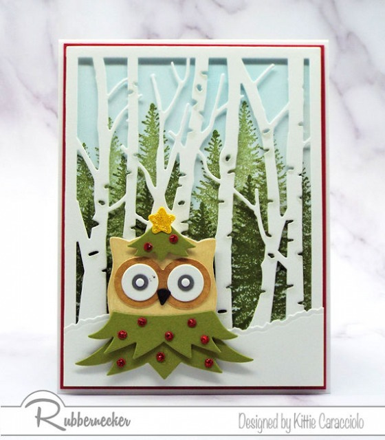 One version of my Owl Christmas Cards in the standard greeting card size from a post where the same card is shown as a slimline card