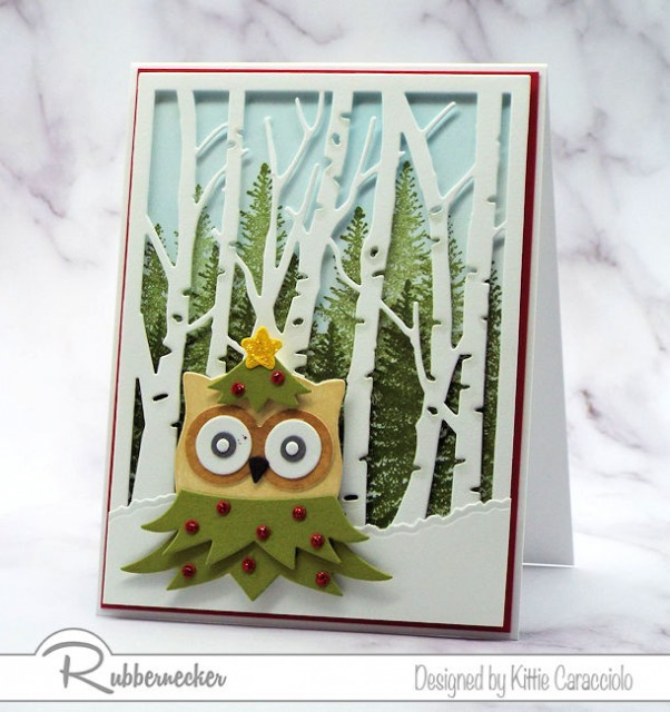 One of my owl Christmas cards originally created as a slimline card now converted to an A2 card