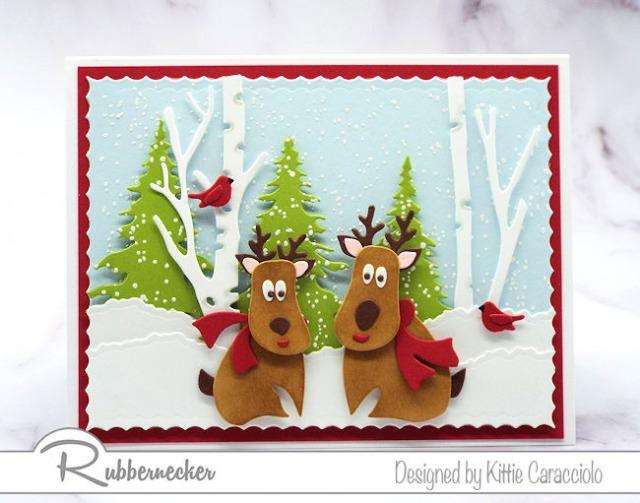 A wintry reindeer card handmade using die cuts from Rubbernecker