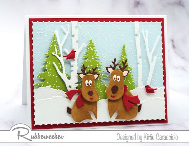This cute reindeer card was made with dies from the new Rubbernecker die release.