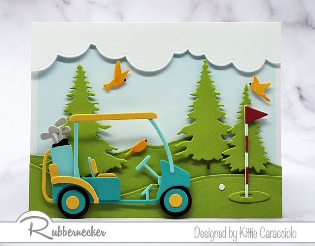 A paper golf cart and golf green made entirely from paper die cuts on handmade cards for golfers