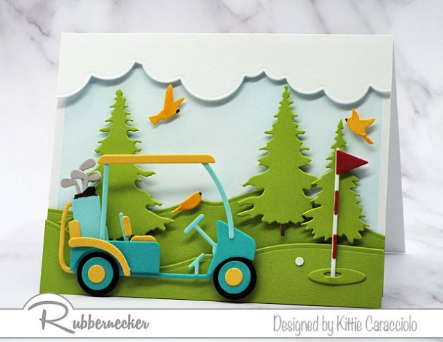 An example of handmade cards for golfers with a golf cart and gold green made from paper die cuts