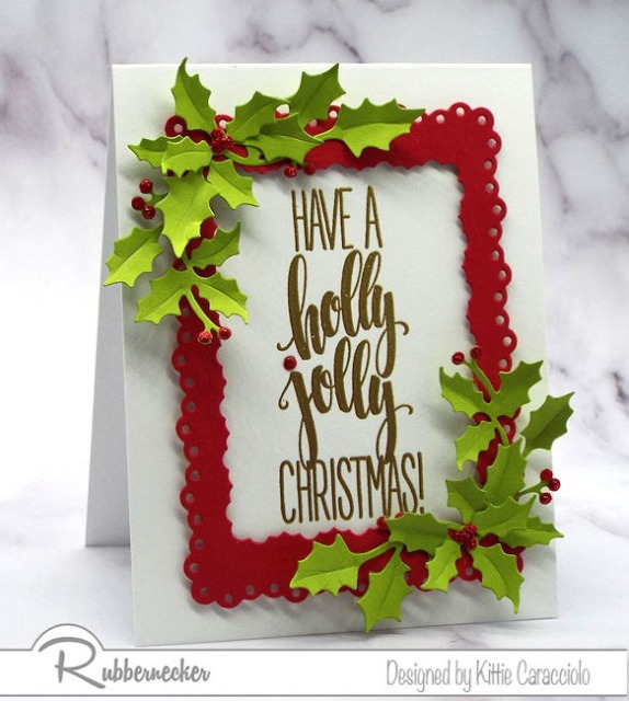 one of my handmade Christmas card ideas that can be covnerted into many other designs using die cut frames and shapes around a large sentiment stamp, all from Rubbernecker