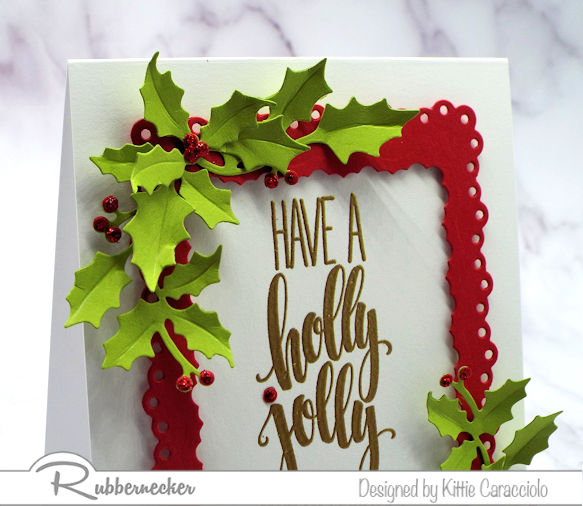 An example of handmade Christmas card ideas that can be created using one stamp, a frame die cut and any seasonal shapes for endless inspiration