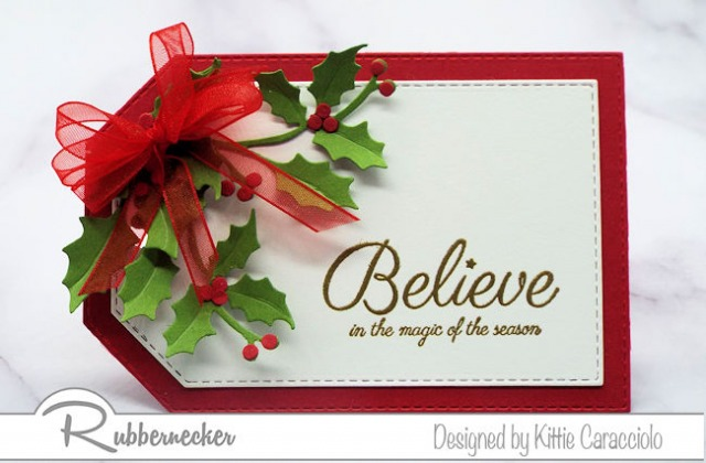 simple die cut greenery and a heat embossed greeting from Rubbernecker make this one of my fast DIY Christmas gift tags